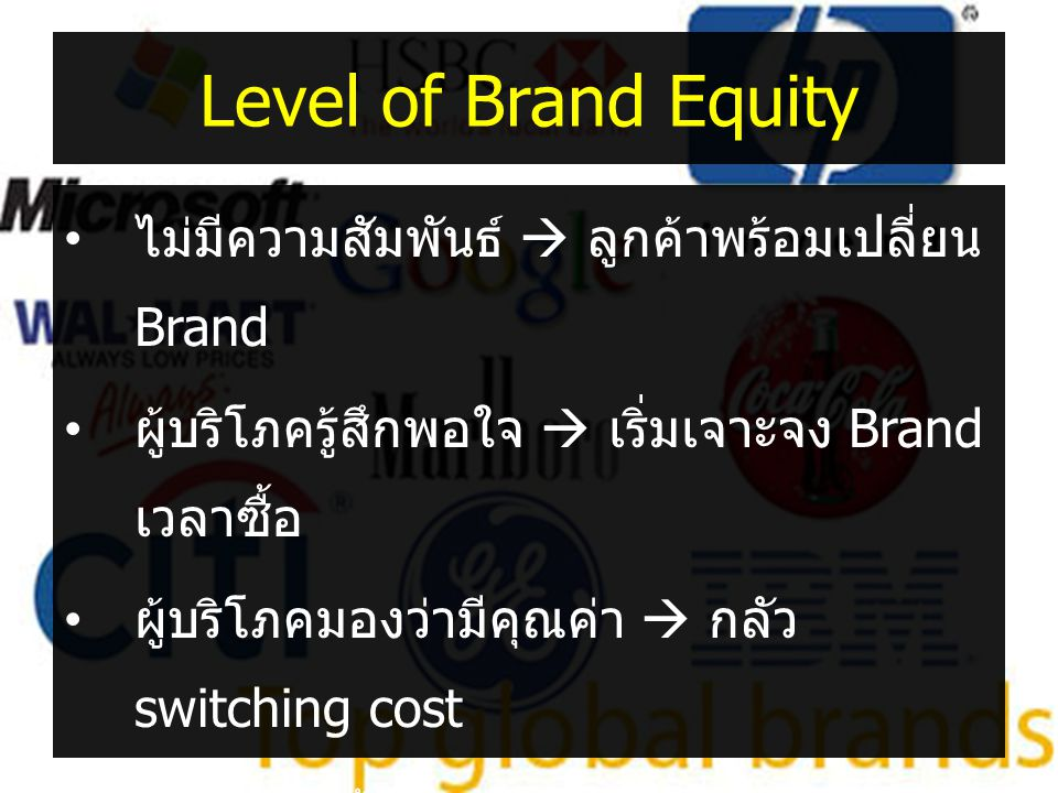 Level of Brand Equity ไม่มีความสัมพันธ์  ลูกค้าพร้อมเปลี่ยน Brand