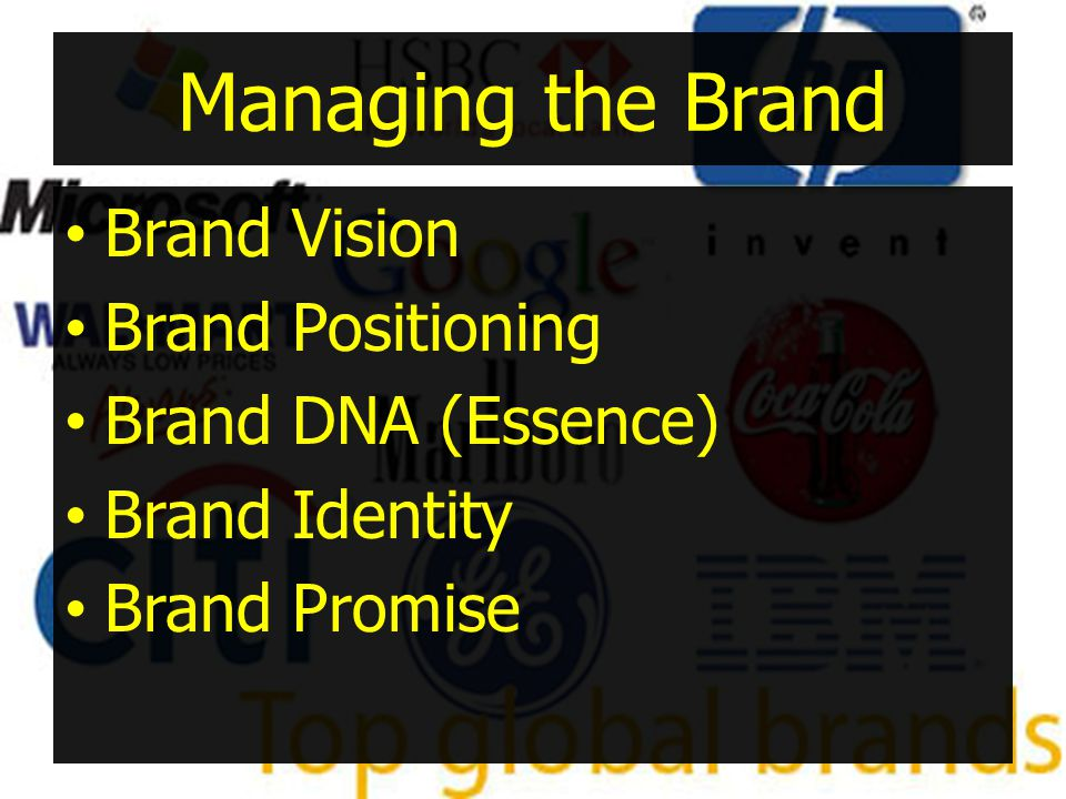 Managing the Brand Brand Vision Brand Positioning Brand DNA (Essence)