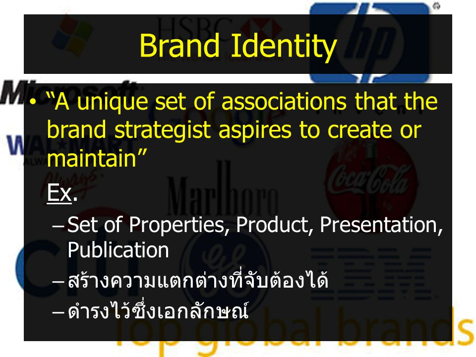 Brand Identity A unique set of associations that the brand strategist aspires to create or maintain