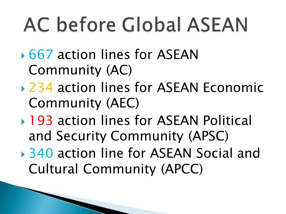 AC before Global ASEAN 667 action lines for ASEAN Community (AC)