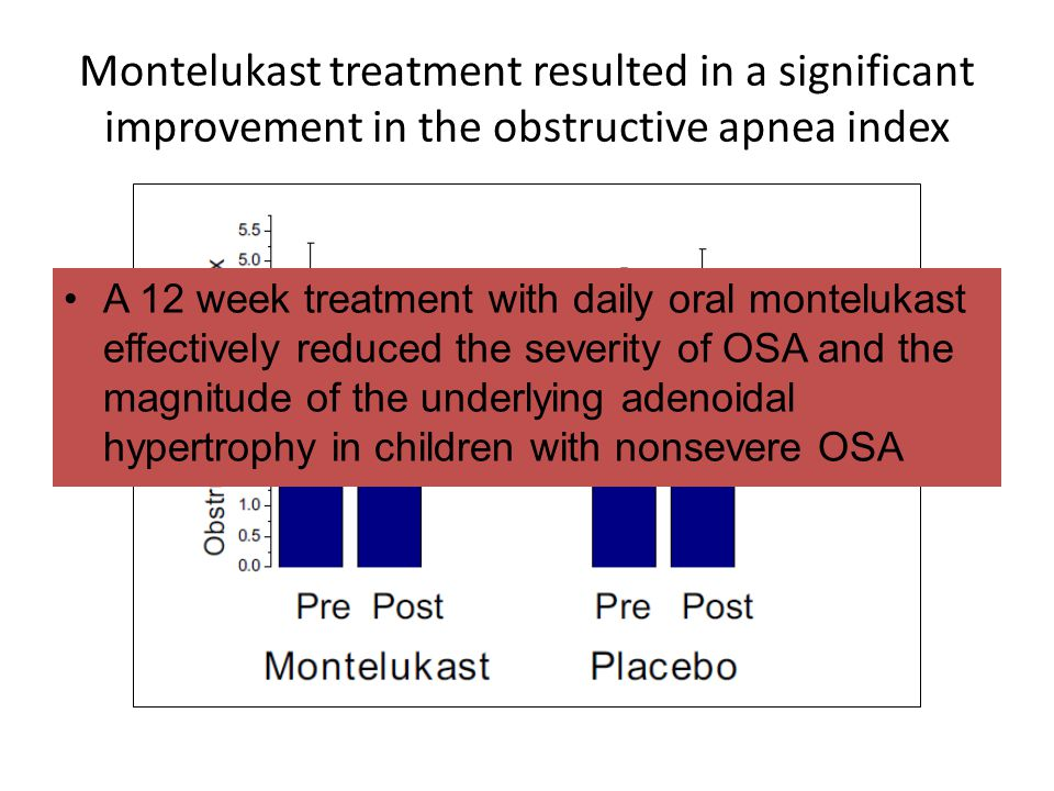 Montelukast treatment resulted in a significant improvement in the obstructive apnea index