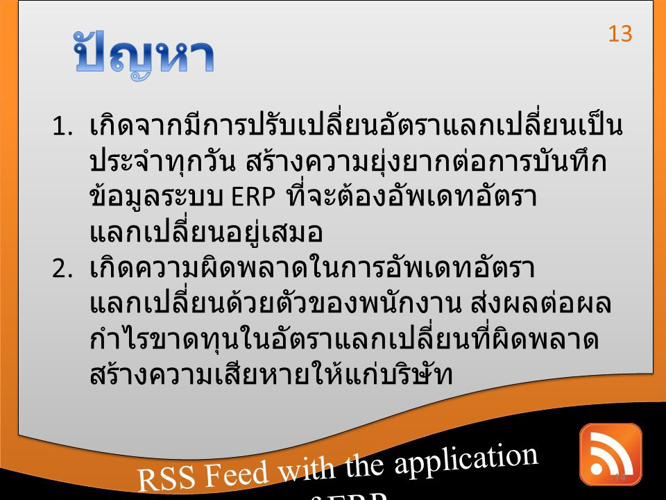 ปัญหา RSS Feed with the application of ERP