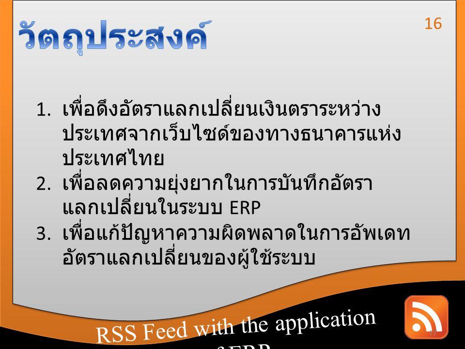 วัตถุประสงค์ RSS Feed with the application of ERP