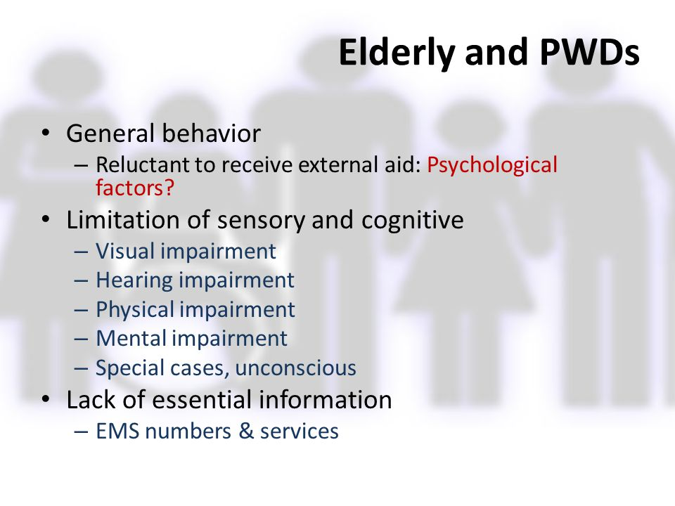 Elderly and PWDs General behavior Limitation of sensory and cognitive