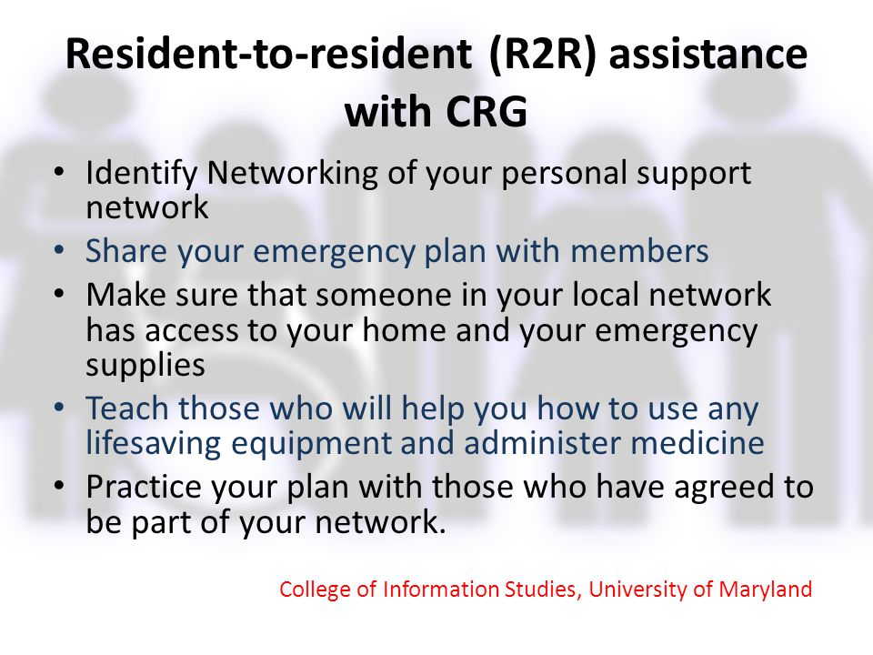 Resident-to-resident (R2R) assistance with CRG