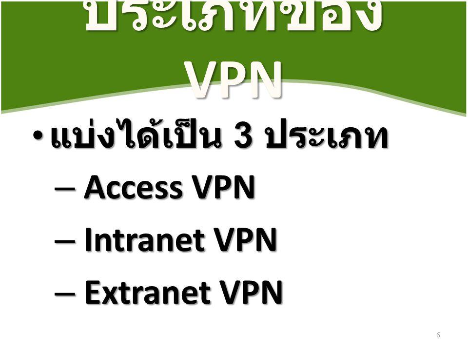 ประเภทของ VPN แบ่งได้เป็น 3 ประเภท Access VPN Intranet VPN