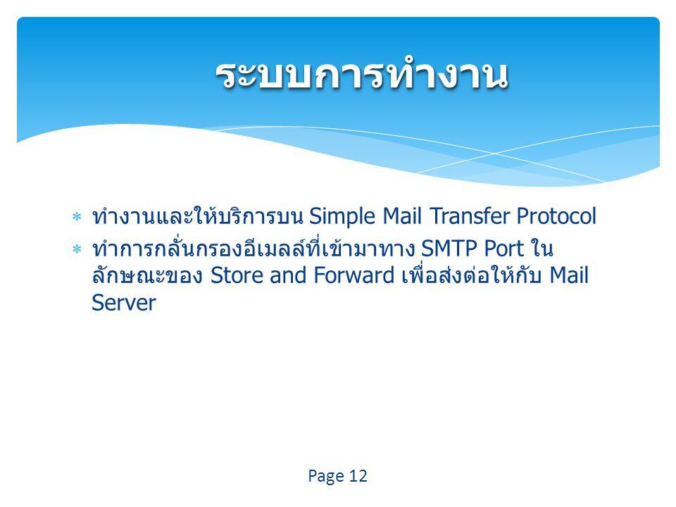 ระบบการทำงาน ทำงานและให้บริการบน Simple Mail Transfer Protocol