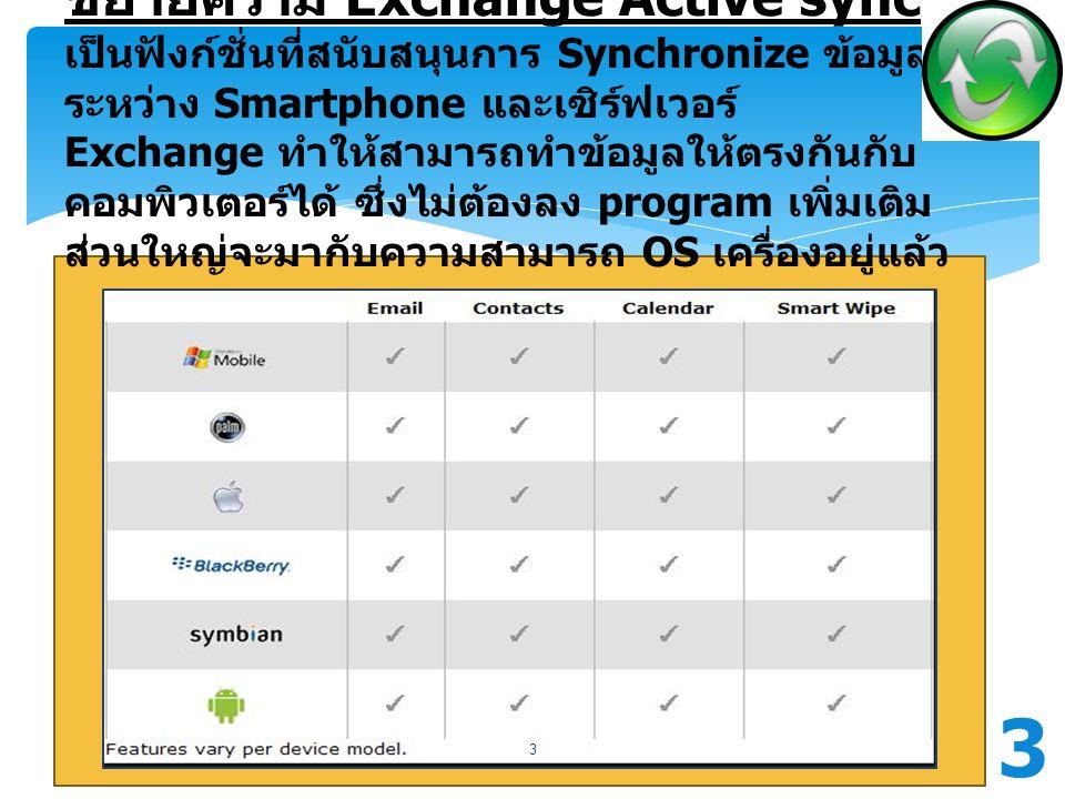 ขยายความ Exchange Active sync เป็นฟังก์ชั่นที่สนับสนุนการ Synchronize ข้อมูลระหว่าง Smartphone และเซิร์ฟเวอร์ Exchange ทำให้สามารถทำข้อมูลให้ตรงกันกับคอมพิวเตอร์ได้ ซึ่งไม่ต้องลง program เพิ่มเติม ส่วนใหญ่จะมากับความสามารถ OS เครื่องอยู่แล้ว