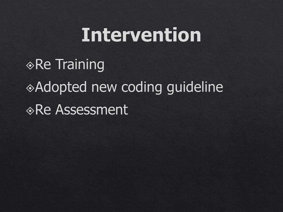 Intervention Re Training Adopted new coding guideline Re Assessment