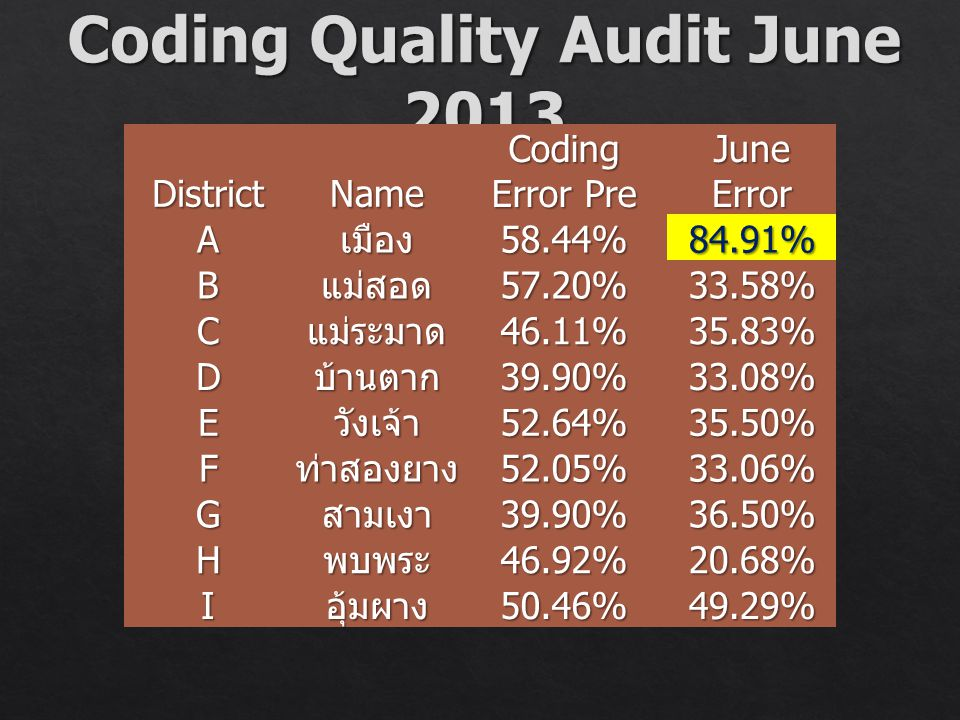 Coding Quality Audit June 2013
