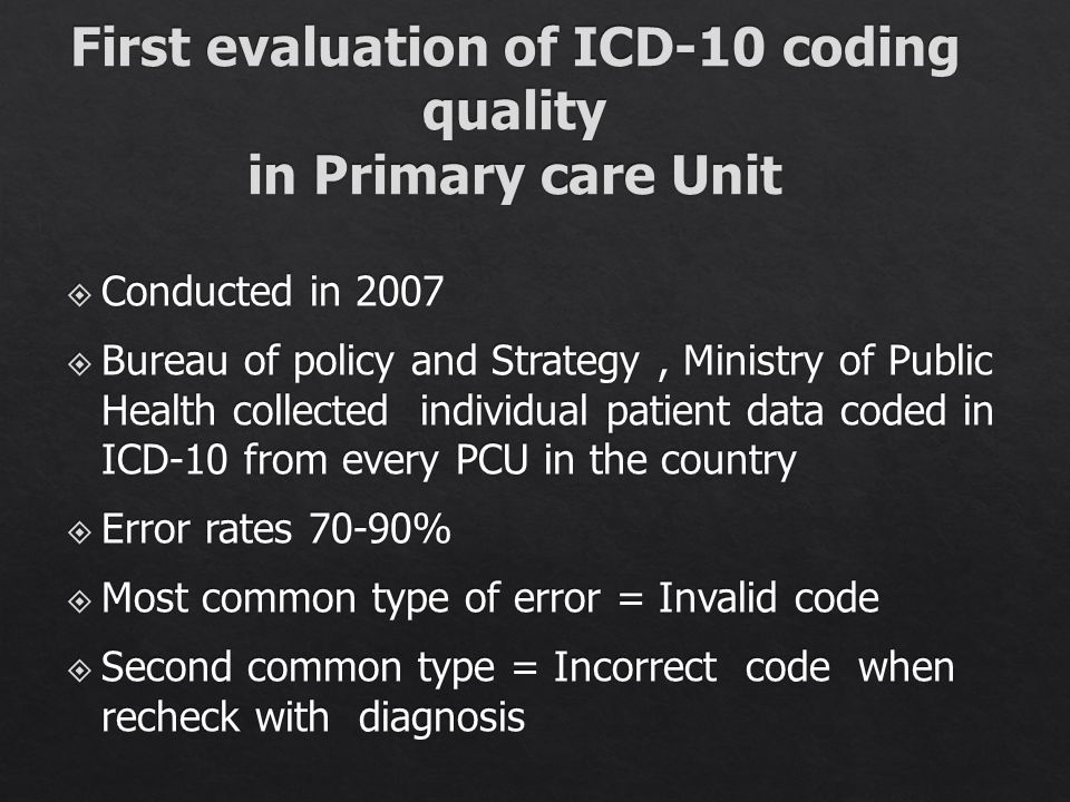 First evaluation of ICD-10 coding quality in Primary care Unit