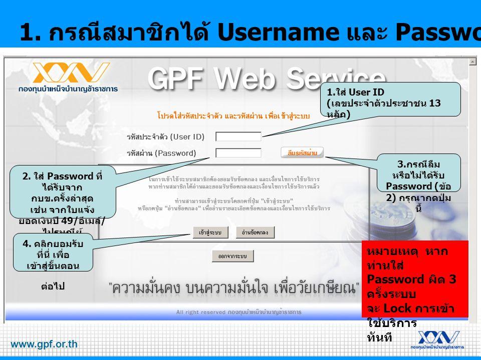 1. กรณีสมาชิกได้ Username และ Password ครั้งแรก