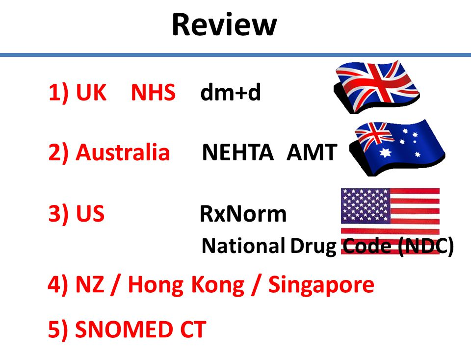 Review 1) UK NHS dm+d 2) Australia NEHTA AMT 3) US RxNorm