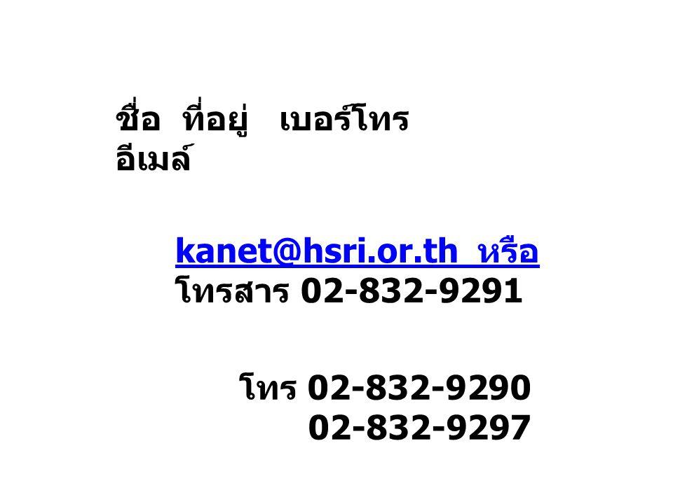 ชื่อ ที่อยู่ เบอร์โทร อีเมล์ kanet@hsri.or.th หรือ.