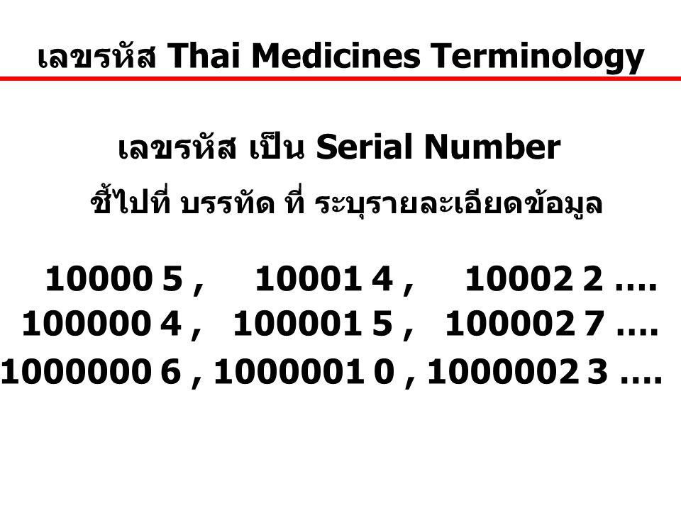 เลขรหัส Thai Medicines Terminology