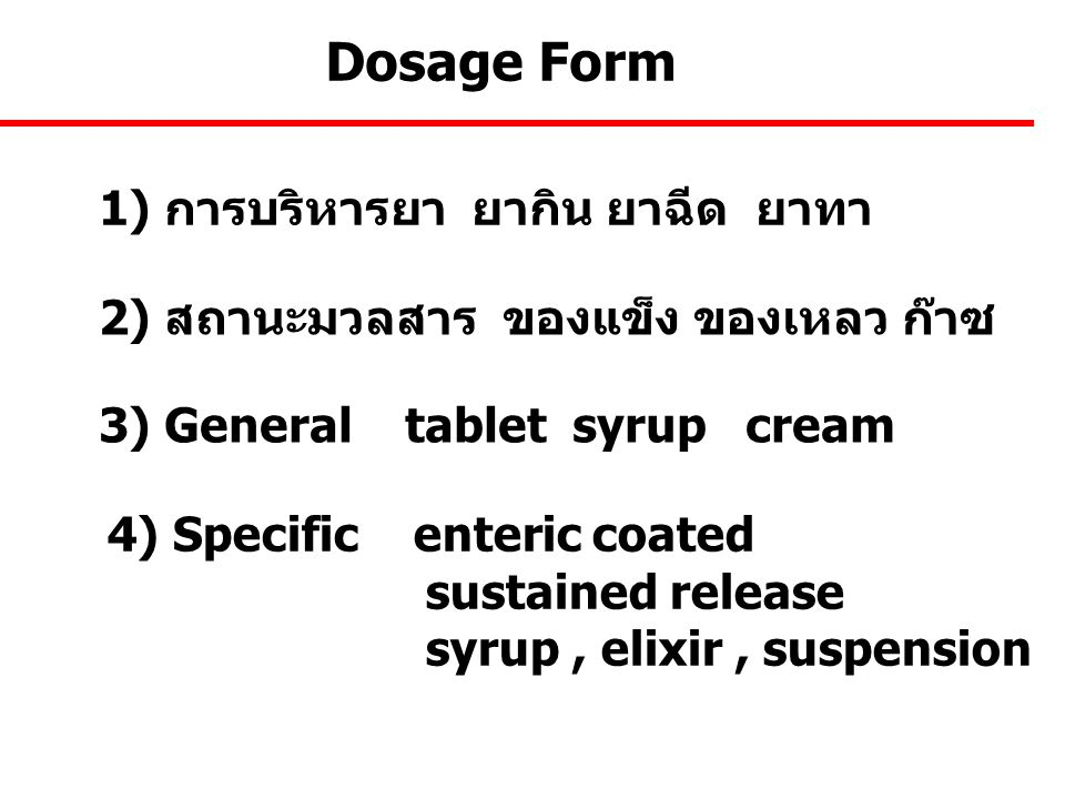 Dosage Form 1) การบริหารยา ยากิน ยาฉีด ยาทา