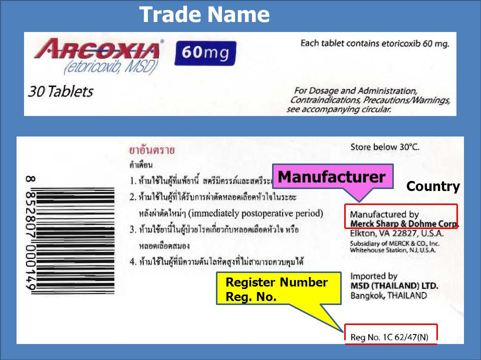Trade Name Manufacturer Country Register Number Reg. No.