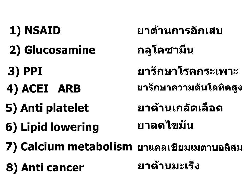 1) NSAID ยาต้านการอักเสบ 2) Glucosamine กลูโคซามีน 3) PPI