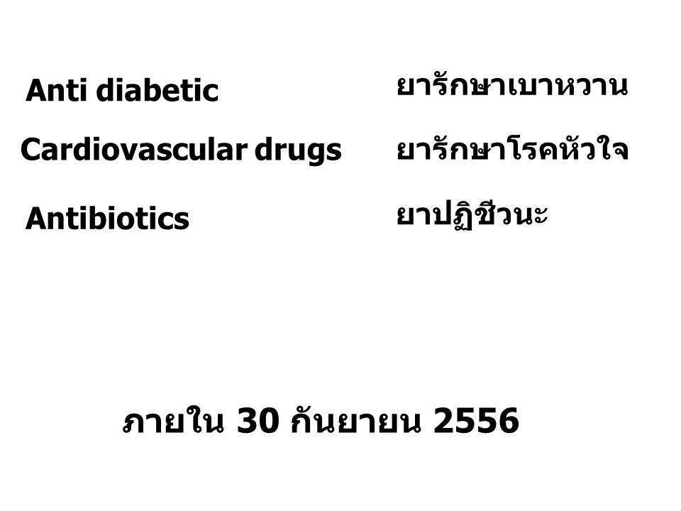 ภายใน 30 กันยายน 2556 ยารักษาเบาหวาน Anti diabetic