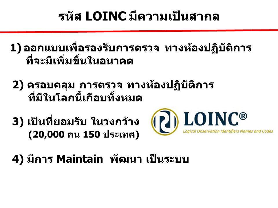 รหัส LOINC มีความเป็นสากล