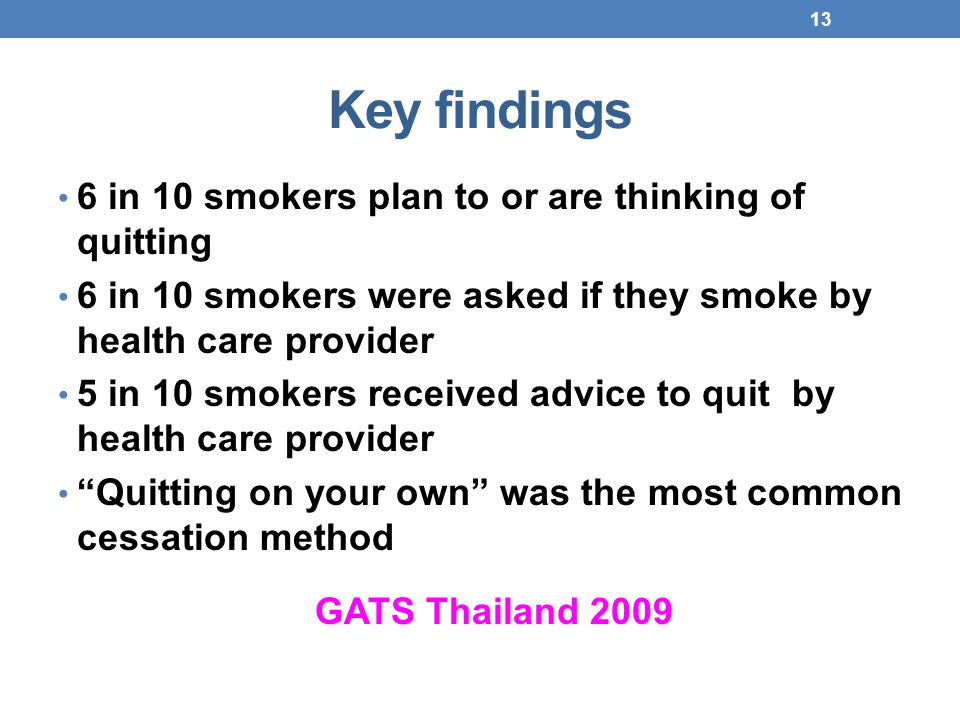 Key findings 6 in 10 smokers plan to or are thinking of quitting