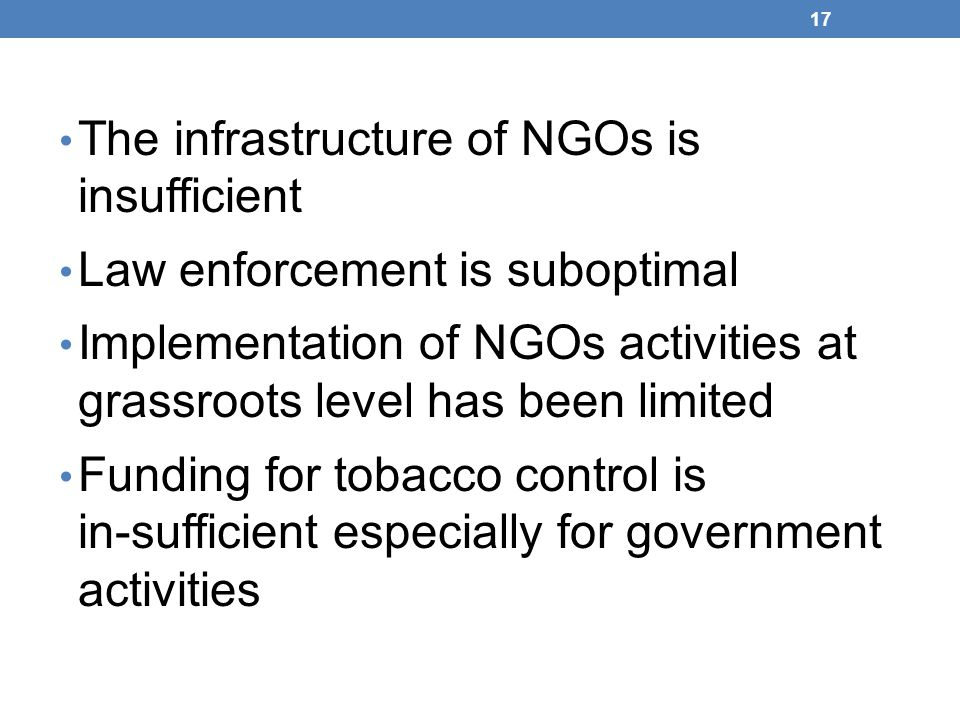 The infrastructure of NGOs is insufficient