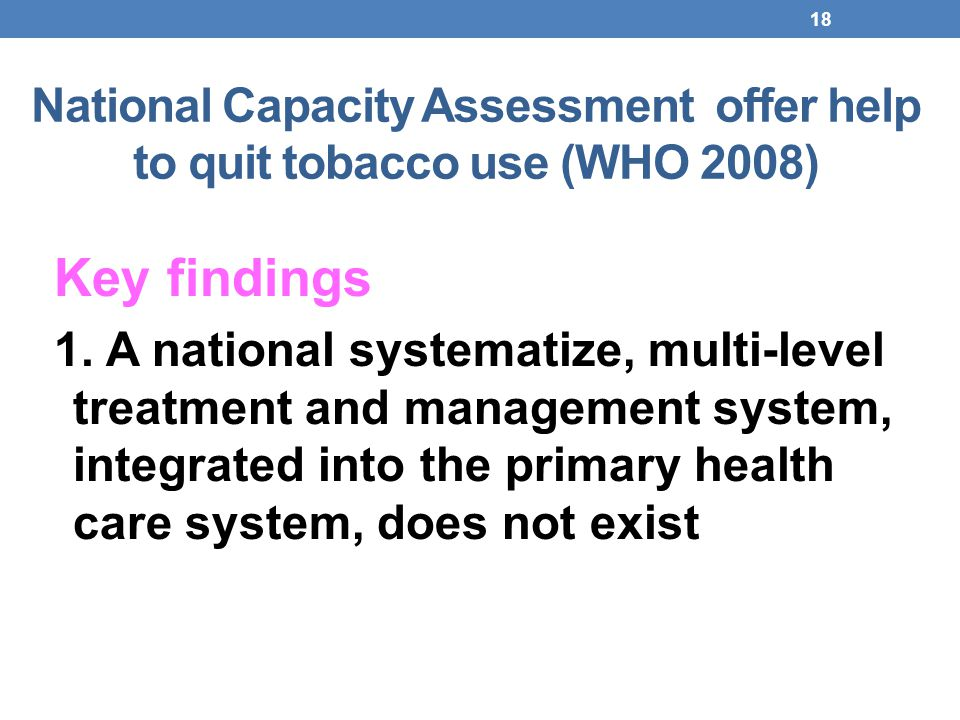 National Capacity Assessment offer help to quit tobacco use (WHO 2008)