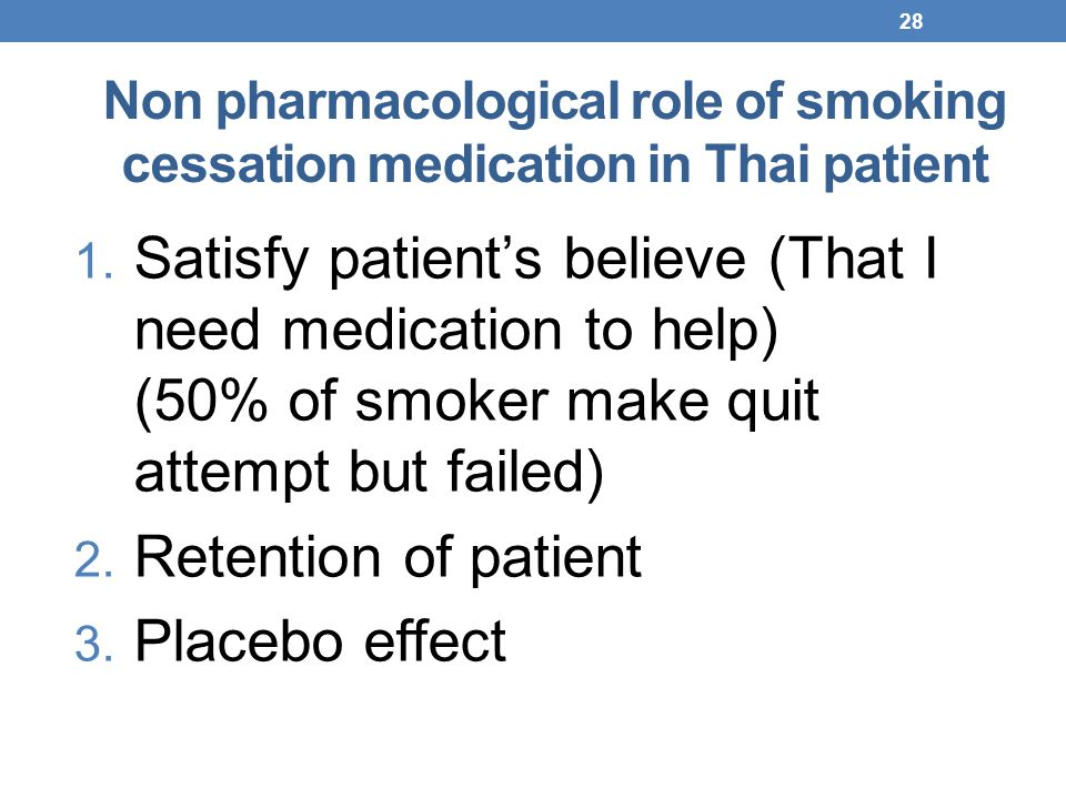 Non pharmacological role of smoking cessation medication in Thai patient
