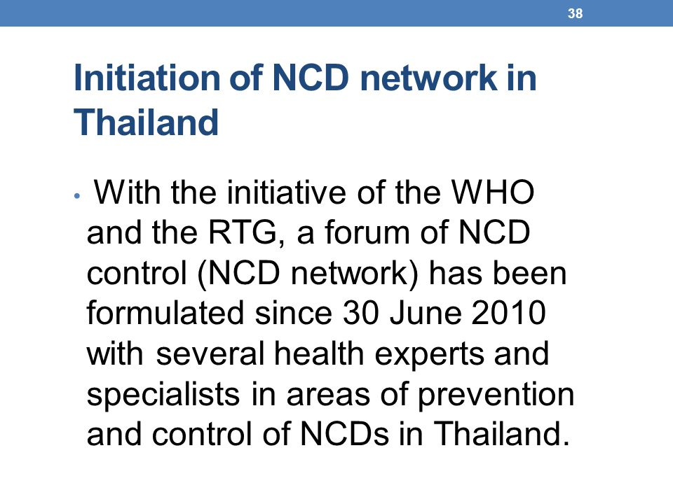 Initiation of NCD network in Thailand