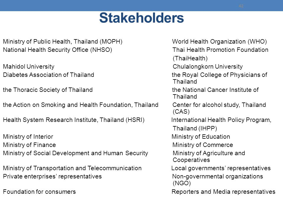 Stakeholders Ministry of Public Health, Thailand (MOPH) World Health Organization (WHO)