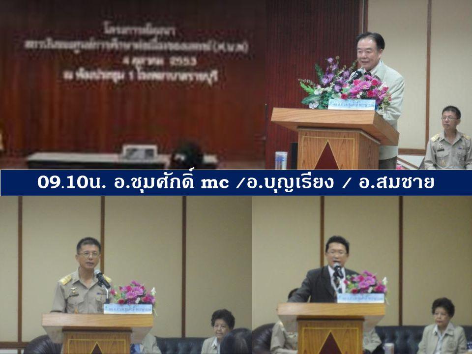 09.10น. อ.ชุมศักดิ์ mc /อ.บุญเรียง / อ.สมชาย