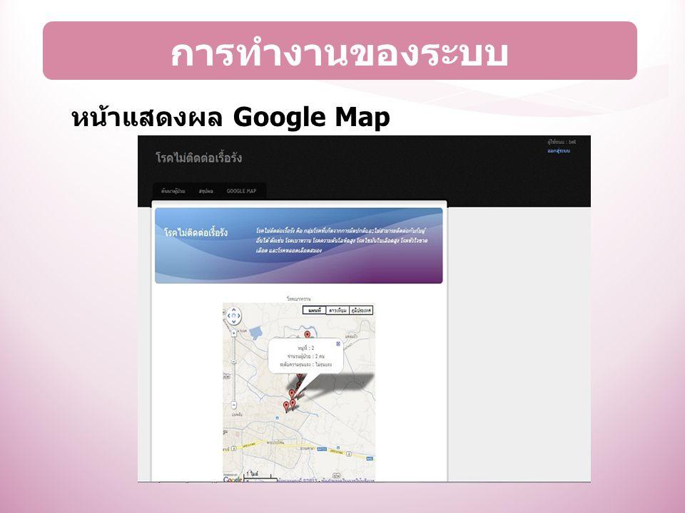 การทำงานของระบบ หน้าแสดงผล Google Map
