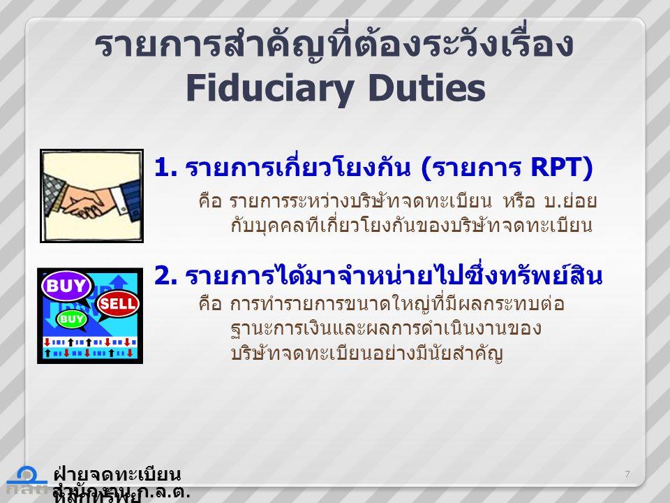 รายการสำคัญที่ต้องระวังเรื่อง Fiduciary Duties