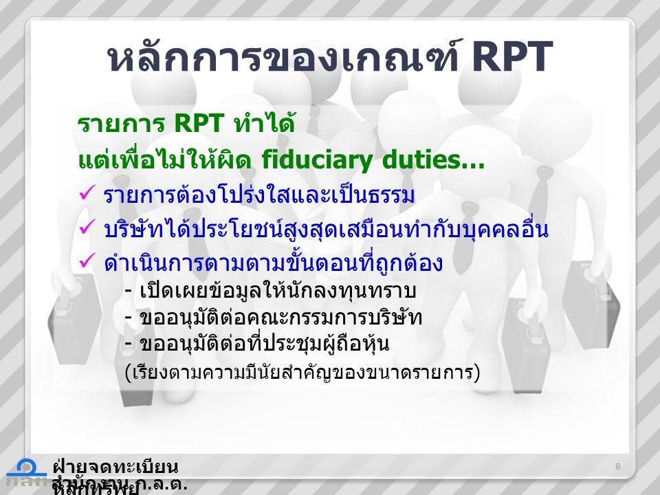 หลักการของเกณฑ์ RPT รายการ RPT ทำได้