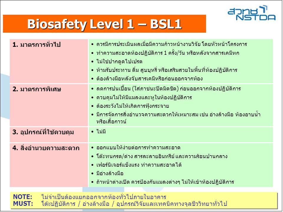 Biosafety Level 1 – BSL1 1. มาตรการทั่วไป 2. มาตรการพิเศษ