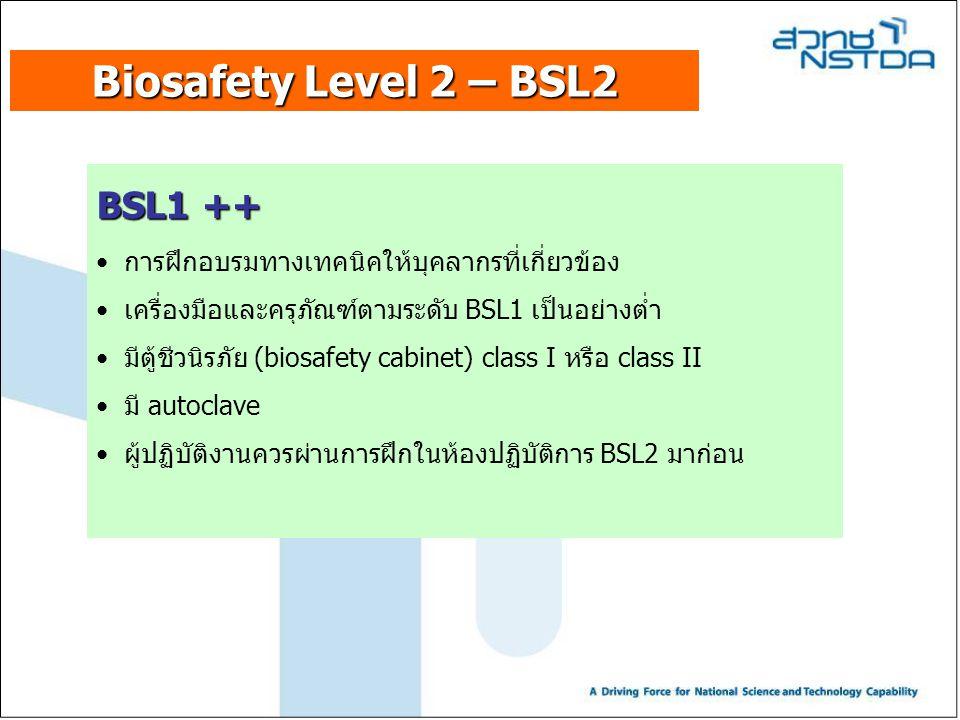 Biosafety Level 2 – BSL2 BSL1 ++