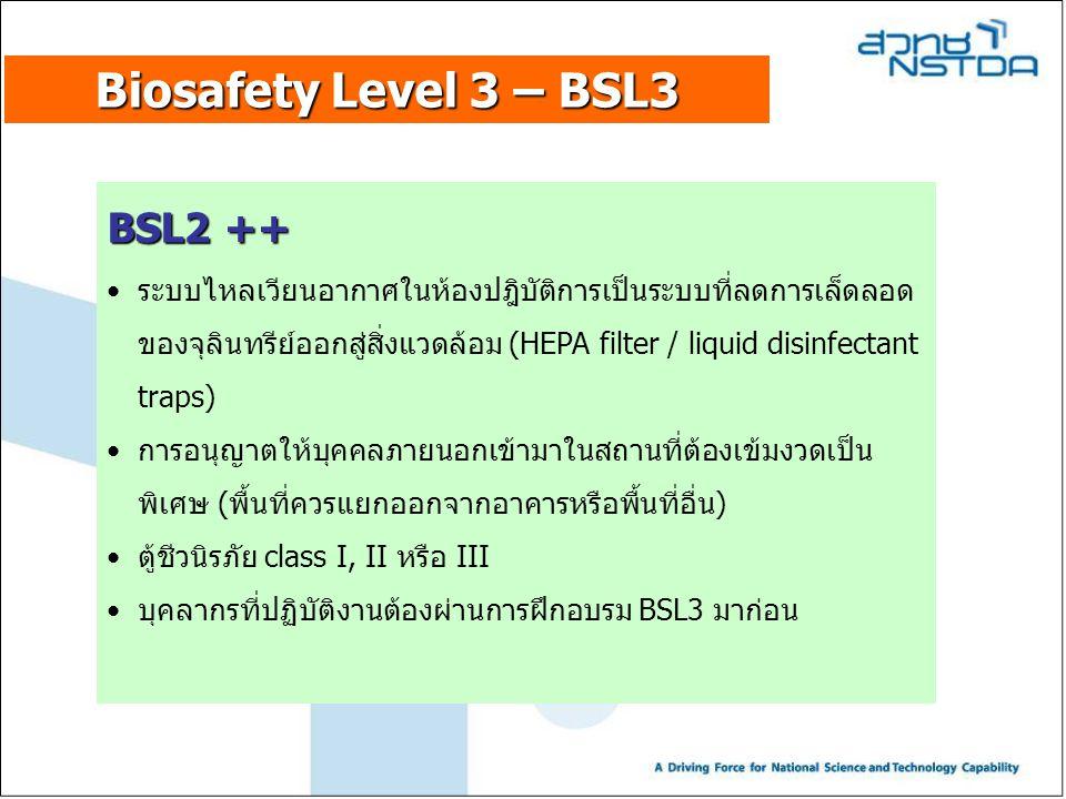 Biosafety Level 3 – BSL3 BSL2 ++