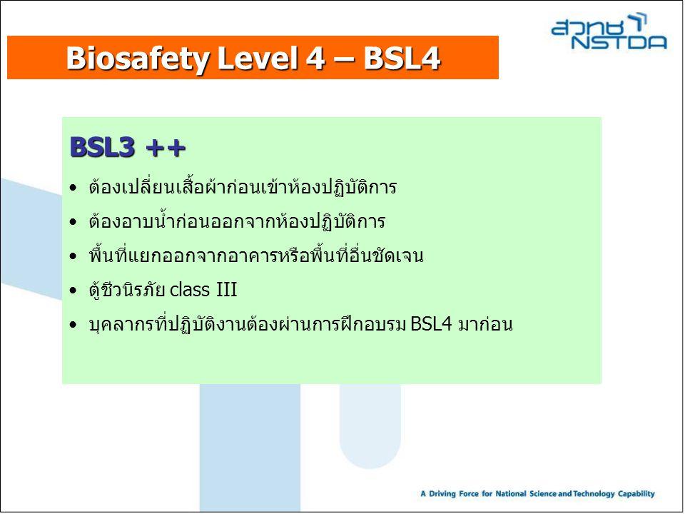 Biosafety Level 4 – BSL4 BSL3 ++