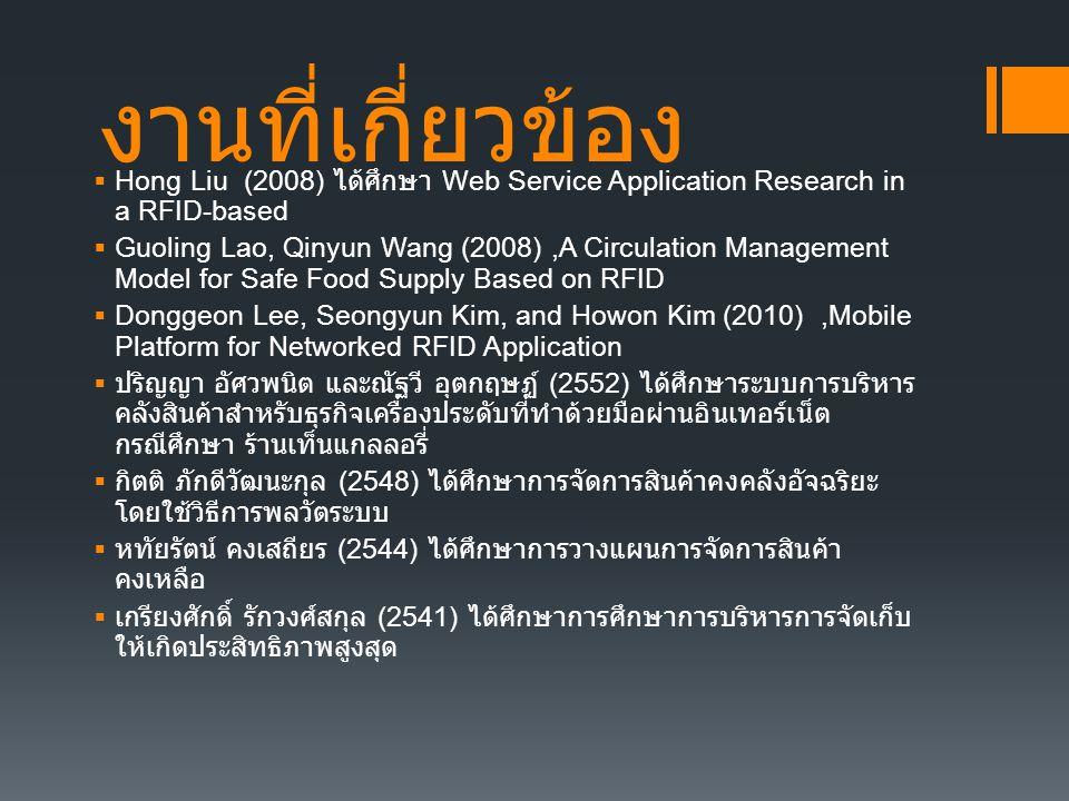 งานที่เกี่ยวข้อง Hong Liu (2008) ได้ศึกษา Web Service Application Research in a RFID-based.
