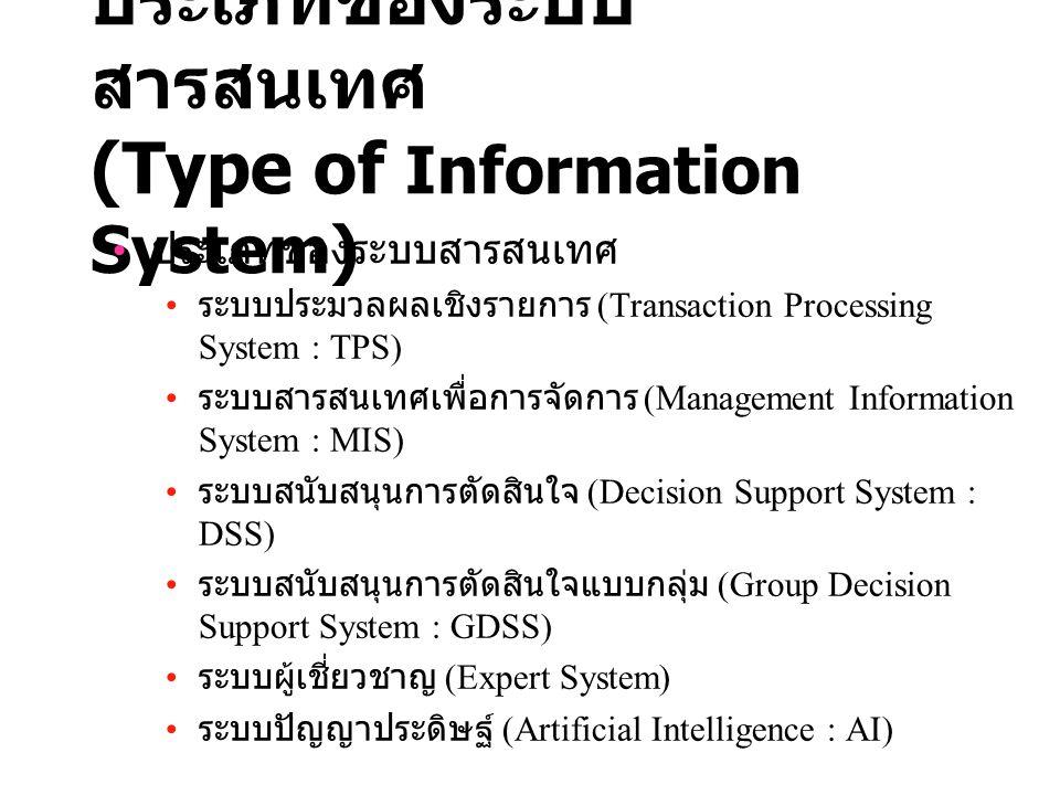 ประเภทของระบบสารสนเทศ (Type of Information System)