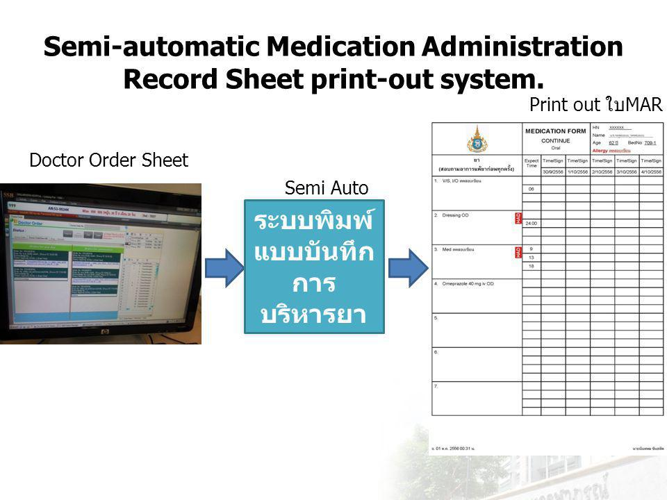 Semi-automatic Medication Administration Record Sheet print-out system.
