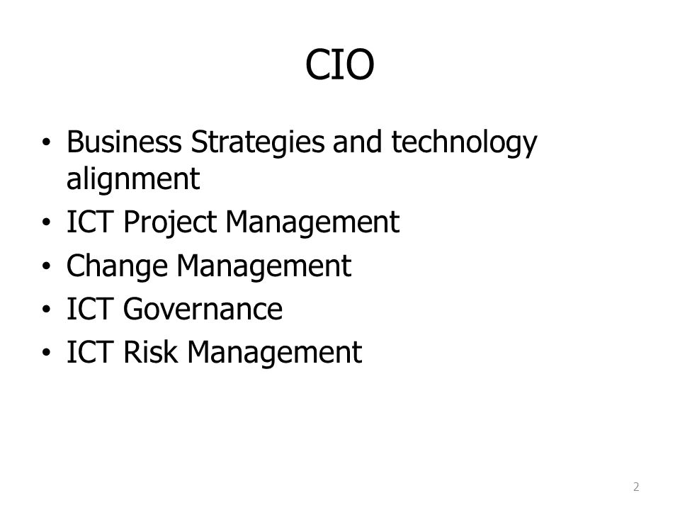 CIO Business Strategies and technology alignment