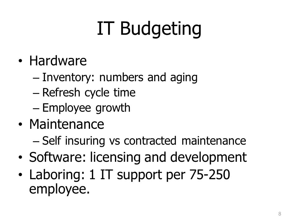 IT Budgeting Hardware Maintenance Software: licensing and development