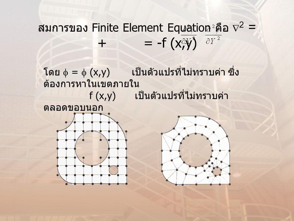 สมการของ Finite Element Equation คือ 2 = + = -f (x,y)