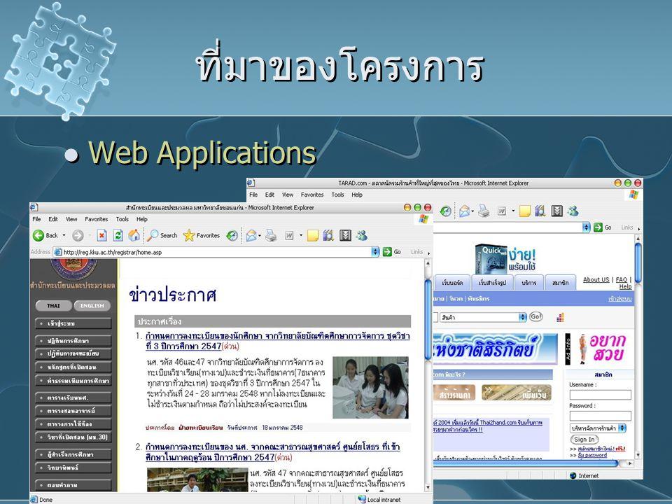 ที่มาของโครงการ Web Applications