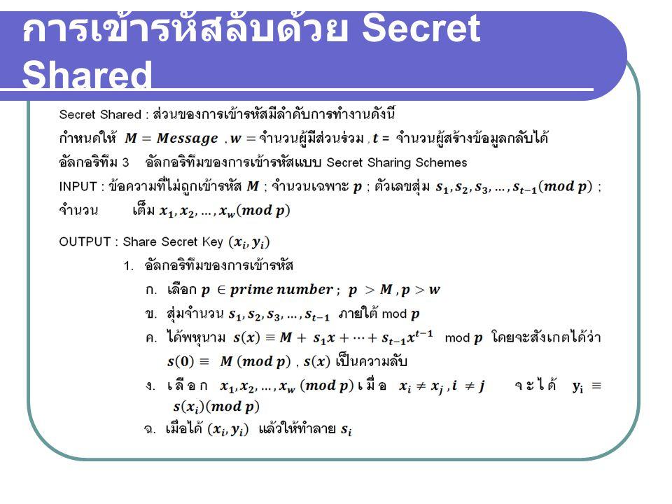 การเข้ารหัสลับด้วย Secret Shared