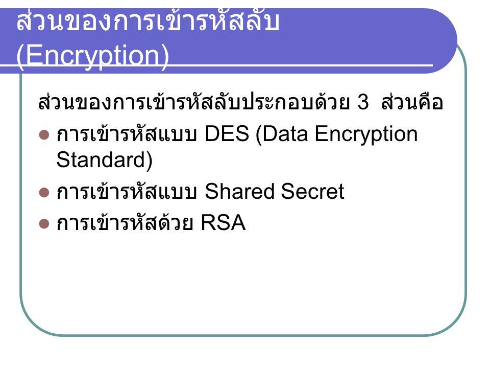 ส่วนของการเข้ารหัสลับ(Encryption)