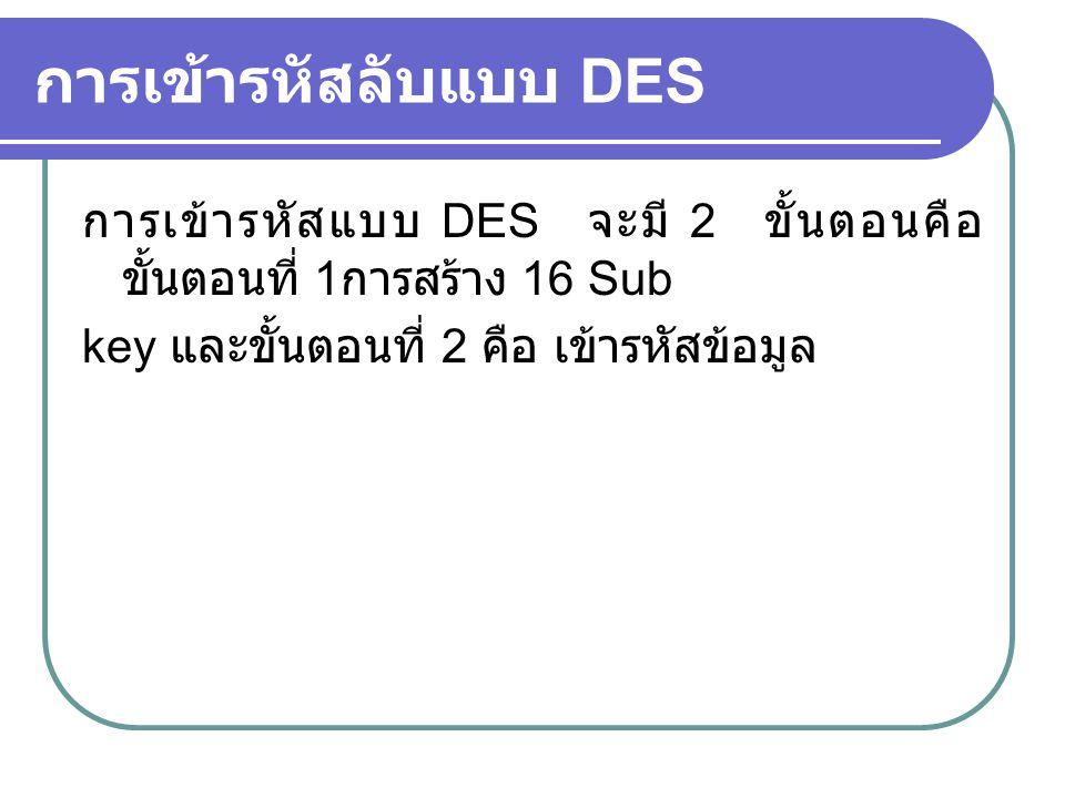 การเข้ารหัสลับแบบ DES