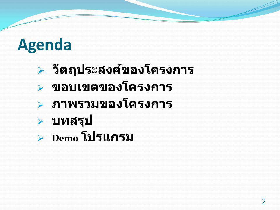 Agenda วัตถุประสงค์ของโครงการ ขอบเขตของโครงการ ภาพรวมของโครงการ บทสรุป