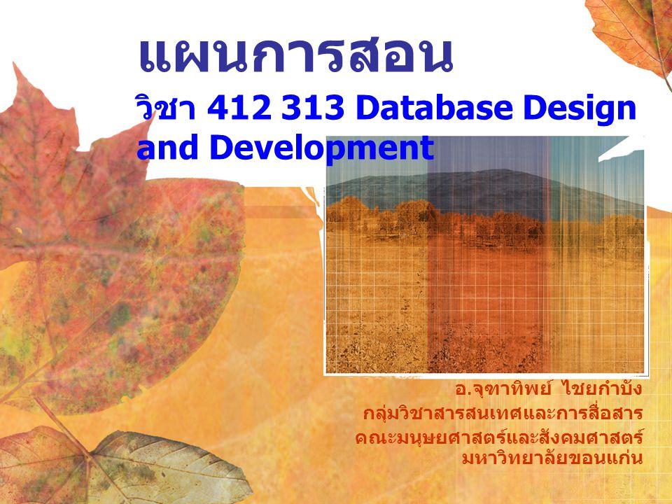 แผนการสอน วิชา 412 313 Database Design and Development